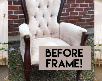 Custom Upholstered French Louis Chair, Accent/Bedroom/Living Room Glam Nursery Chair, Linen Shabby Chic, Wedding Decor Photography Prop