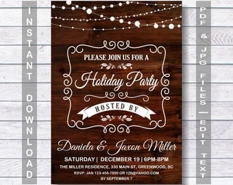 Holiday Party Invitation, Holiday Party, Holiday Invitation, Christmas Invitation, Christmas Party Invitation, Instant Download, Christmas