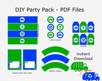 SALE Garbage, Recycle Party Pack - Royal Blue & Green - Birthday Party Pack - DIY Printable - INSTANT Download