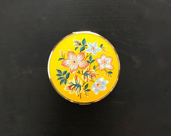 Vintage Melissa floral yellow compact mirror -  Made in England