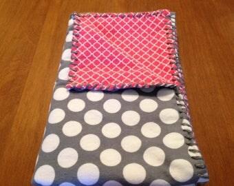 Handmade Melon Diamond Pattern & Gray and White Polka Dot SnuggleBuggCo Original Baby Blanket