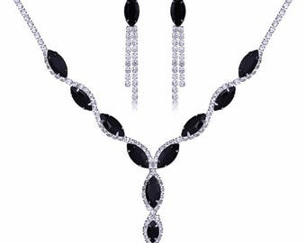 Rhinestone, Crystal, CZ necklace set, wedding bridal jewelry set black