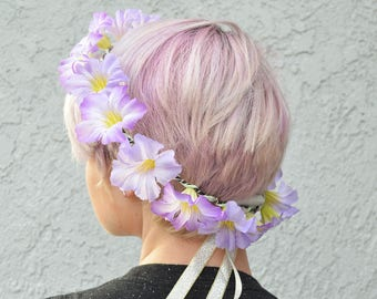 LED Purple Flower Crown with Ribbon