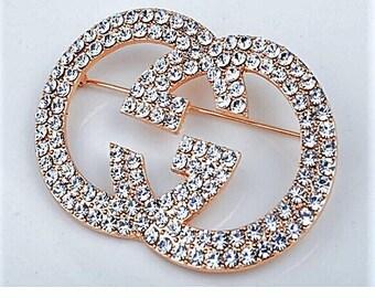 Large G crystal Brooch