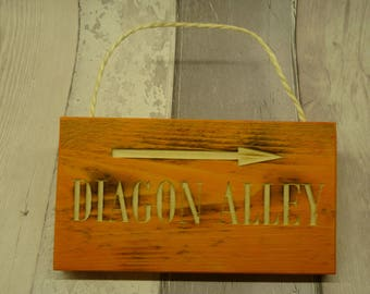 Harry Potter. Decorative destination sign.  Diagon Alley. Orange.