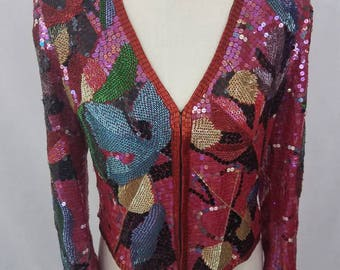 Fully Beaded & Sequined Vintage Jacket/ Tuxedo/ Floral Leaves