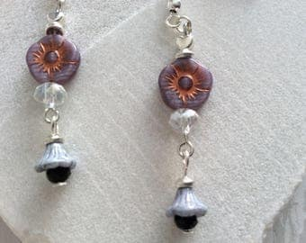 Lavender and Lilac Flower Earrings