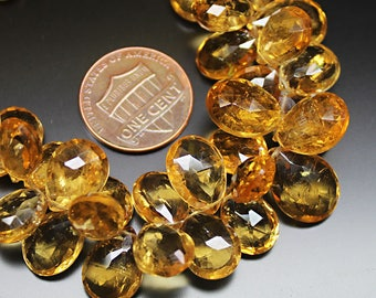"Golden Citrine  Faceted Pear Drop Gemstone Craft Loose Beads Strand 7"" 10mm"