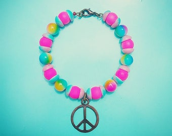 Neon Pink and Tie Dye Peace Bangle