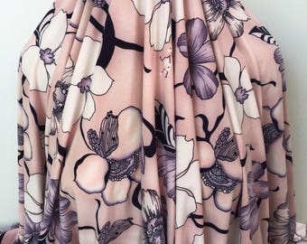 17-257 Art Nouveau Pink and Black Floral - Sold by the Yard