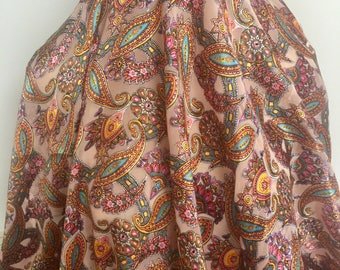 Bright Paisley Silk Burn Out- Sold by the Yard