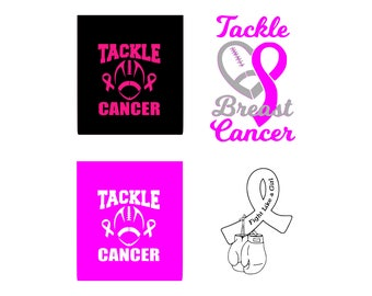 Breast cancer svg Tackle cancer svg Pink ribbon svg Football Tackle Breast Cancer Svg Awareness ribbon svg Cricut Design Silhouette Vinyl