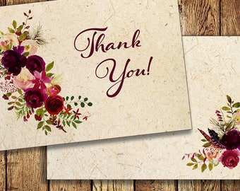 Thank You Note, Watercolor Floral Burgundy Marsala Wine, customized, 4x6 flat note card, prints 2 sides, Printable file or Printed Cards