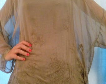Taupe Silk Embroidered long sleeve tunic
