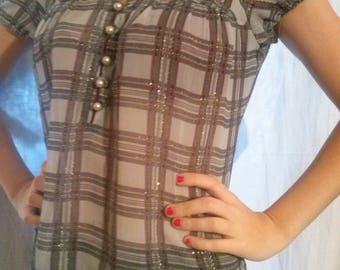 Gray color Plaid short sleeve shirt