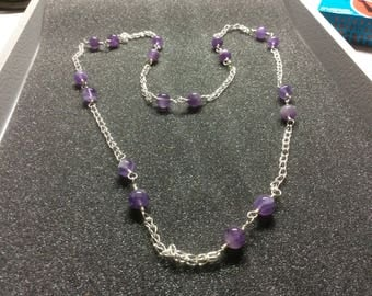 Necklace,amethyst,fine silver wrap