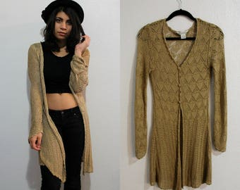 Vintage Gold Metallic Duster GOLD DUST WOMAN Long Boho Sweater