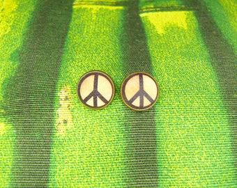 """Soul slices """"peace"""" wood metal stud Earrings 13mm"""