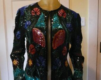 Gorgeous Beaded Jacket!  Resplendent! Size L, Fits Size 6-12.