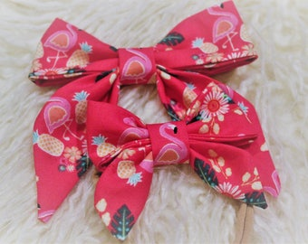 Sailor Bow in Red or Pink Flamingo Prints. On a One size fits all Nylon Band. Baby girl accessory