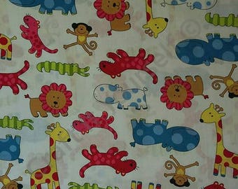 funky zoo wild animals 100% cotton fabric 60 inch / 150cm