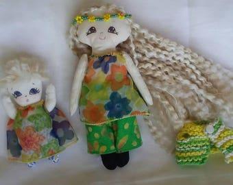 "Big Sister (6"" tall) and Little Sister (3"" tall) handmade Cloth Dolls!"