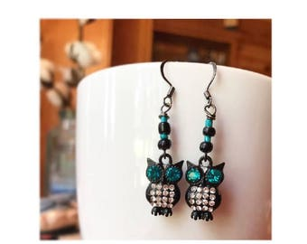 Black and turquoise owl earrings