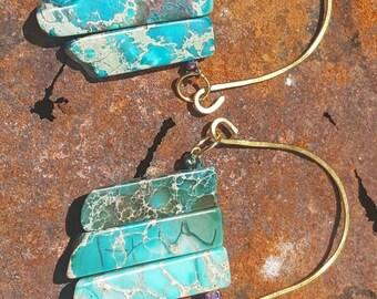 Semiprecious stone gold wire ear weights ear hangers ear dangler ear stretcher plug gauges stretched ears 00G