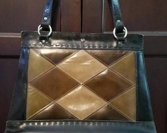 Gorgeous argyle patterned Jean Fogel Rooster handbag