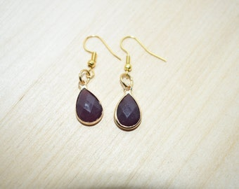 Purple Teardrop Earrings
