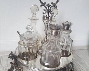 Antiek olie- en azijn/condiment Set