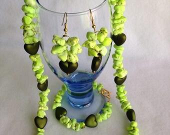 DWARVEN Windstone w/PIXIE-Carved Heart Necklace, Bracelet, and Earring Set