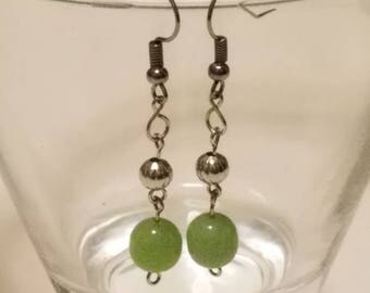 Light Green and Silver Fish Hook Dangle Earrings
