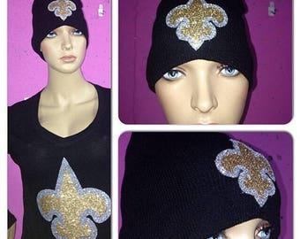ON SALE Saints glitter bling beanie | New Orleans Saints glitter hat | Who Dat Bling hat