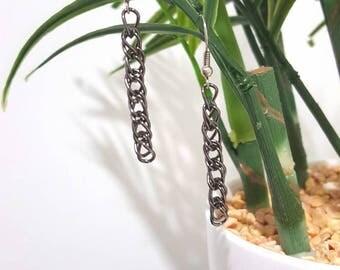 Grey chain link drop earrings