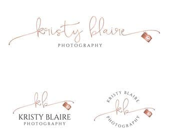 Photography logo and watermark, Photography branding package, Rose gold logo camera logo, Premade branding kit, business premade logo 063