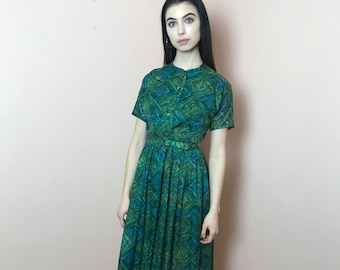 Green and blue patterned day dress knee length, belted, petite