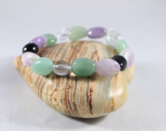 Handmade Amethyst Fluorite Aventurine and Onyx Tumbled Stone Healing Crystal Bracelet