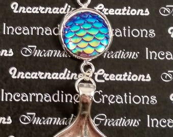 Silver iridescent mermaid tail charm necklace