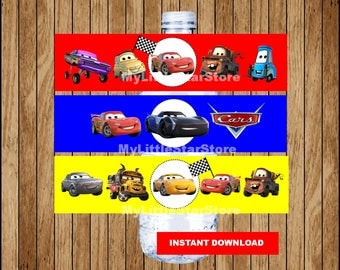 Cars bottle labels, Printable Cars water bottle labels, Disney Cars 3 party water labels Instant download