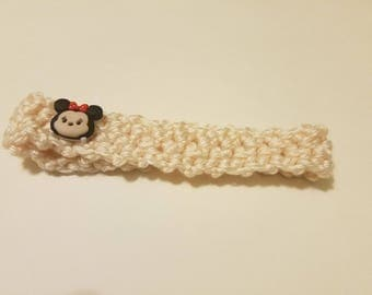 Baby Crochet Head Band With Minnie Mouse Button