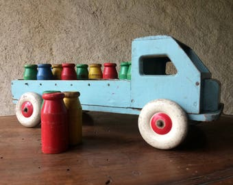 French Joujoulac wooden toy milk truck | 1950s