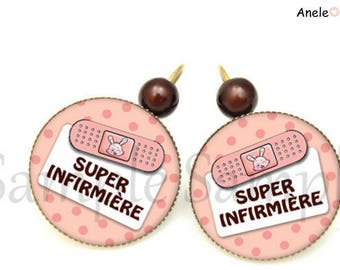 Super nurse pink brown white dots bandage earrings pearls romantic hospital medical syringe
