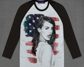 Lana Del Rey Born to die US Flag 3/4 Long sleeve Grey Body and Black Raglan Sleeve Cotton Adult Unisex Size S M L XL
