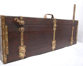 Antique Carpenters Mahogany ? and Brass Trimmed Tool Box  1800's ? Rare Signed Wooden Boxes Tool Chest