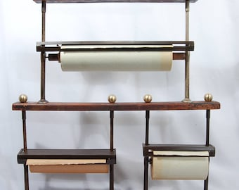 Antique General Store, Country store, Oak Triple Paper Roll Rack, Cutter, Dispenser, Wrapping Paper Rack...  RARE!