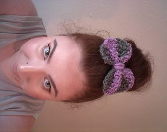 Lavender and Gray Striped Knitted Hair Bow