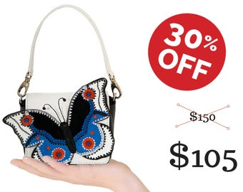 Butterfly bag blue leather purse butterfly accessory gift for her gift for wife handbag leather cross body embroidery bag small leather bag