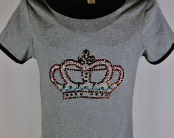 Crystal crown bling tee shirt, junior size medium