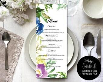 Wedding Day Menu Template, Printable Wedding Menu, Wedding Menu Text Editable, Floral Watercolor Text Edit PDF Wedding Menu, Border 5 MENU-5